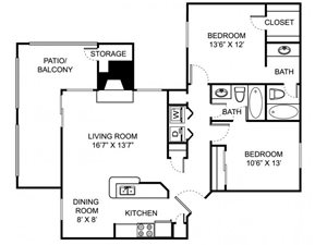 Remington Place Apartments 2 Bedroom 2 Bath 993 Square Feet