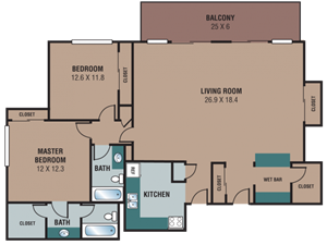 The Regency Apartments 2 Bedroom Penthouse Floor Plan