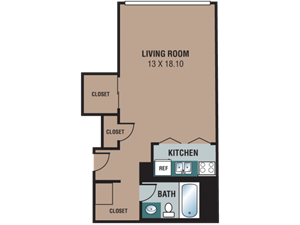 The Regency Apartments Studio Floor Plan