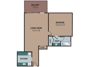 The Regency Apartments 1 Bedroom/1 Bath Floor Plan