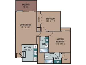 The Regency Apartments 2 Bedroom 1 Bathroom Floor Plan