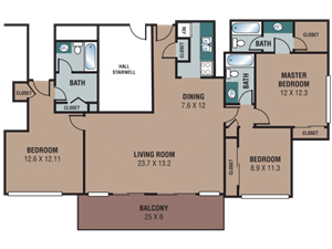 The Regency Apartments 3 Bedroom Penthouse Floor Plan