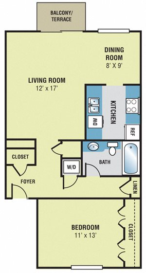 Woodscape Apartments A1 Floor Plan