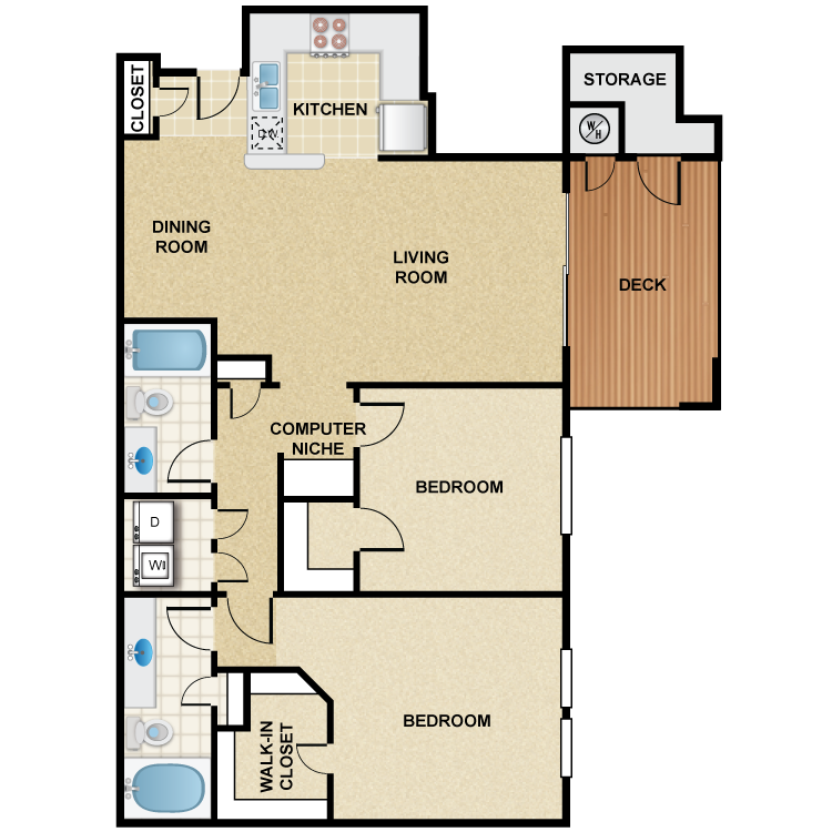 2 Bedroom 2 Bath - Madera Floor Plan 1