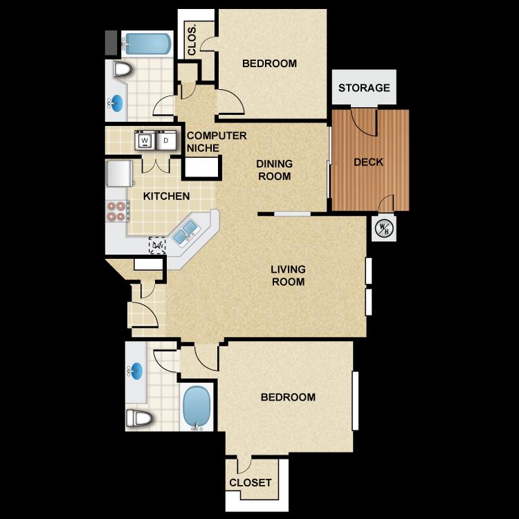 2 Bedroom 2 Bath - Mariposa Floor Plan 2