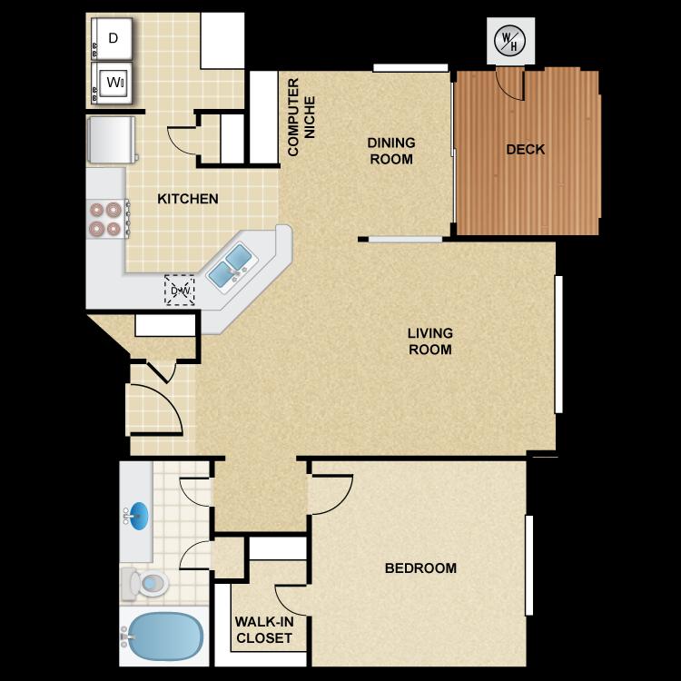 1 Bedroom 1 Bath - Monterey Floor Plan 5
