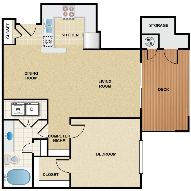 1 Bedroom 1 Bath - Napa Floor Plan 6