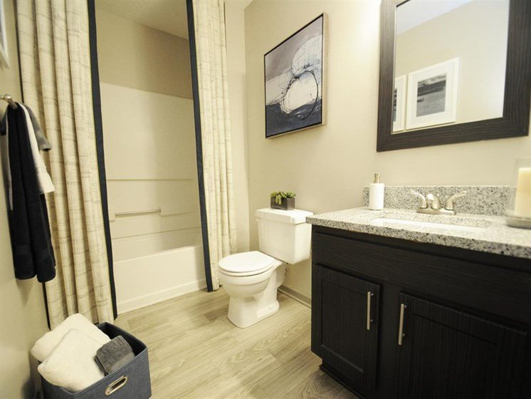 Bathroom with wood-style flooring