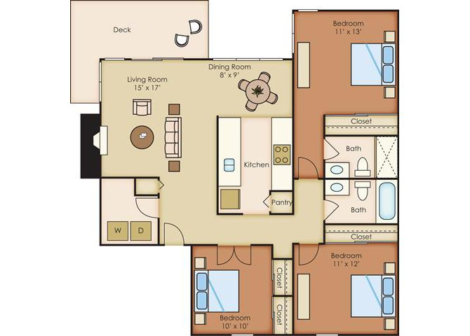 3 Bed 2 Bath Floor Plan at Sorrento Bluff, Beaverton, OR 97008