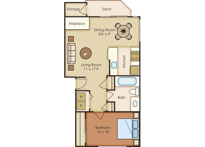 1 Bed 1 Bath Floor Plan at Sorrento Bluff, Beaverton, OR