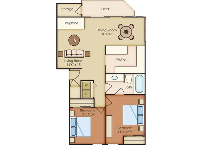 2 Bed 1 Bath Floor Plan at Sorrento Bluff, Oregon
