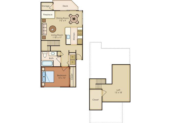 1 Bed 1 Bath Floor Plan at Sorrento Bluff, Beaverton