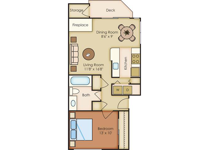 1 Bed 1 Bath Floor Plan at Sorrento Bluff, Beaverton, 97008