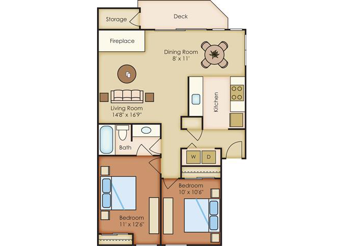 2 Bed 1 Bath Floor Plan at Sorrento Bluff, Oregon, 97008