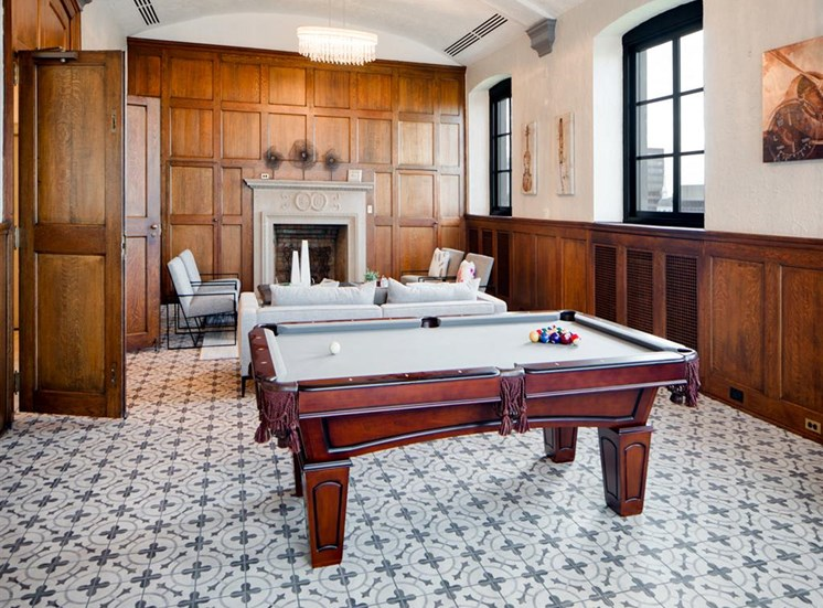 billiards room with luxurious interior decoration for apartment residents