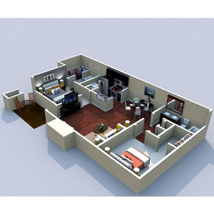 2BR/2BA Belle Meade 1000sf Floor Plan 5
