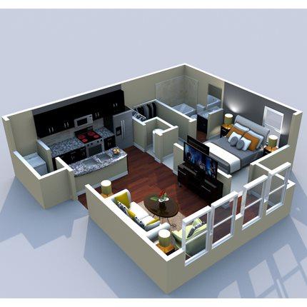 1BR/1BA Brixworth 600sf Floor Plan 2