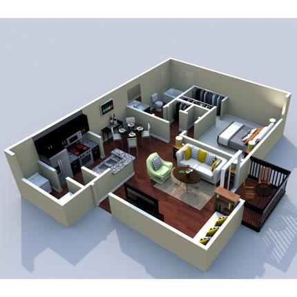 1BR/1BA Broadway 700sqft Floor Plan 3