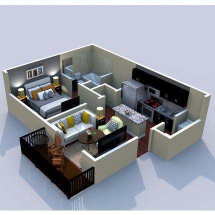 1BR/1BA Hillsboro 500sf Floor Plan 1