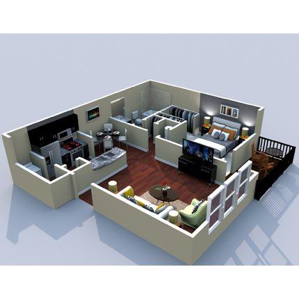 1BR/1BA Kingston 800sf Floor Plan 4