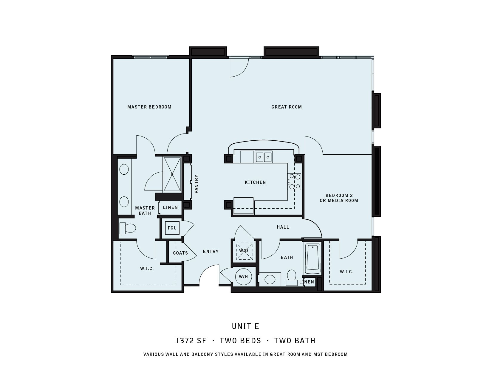 The Reserve at Seabridge_Oxnard CA_Floor Plan E_Two Bedroom Two Bathroom
