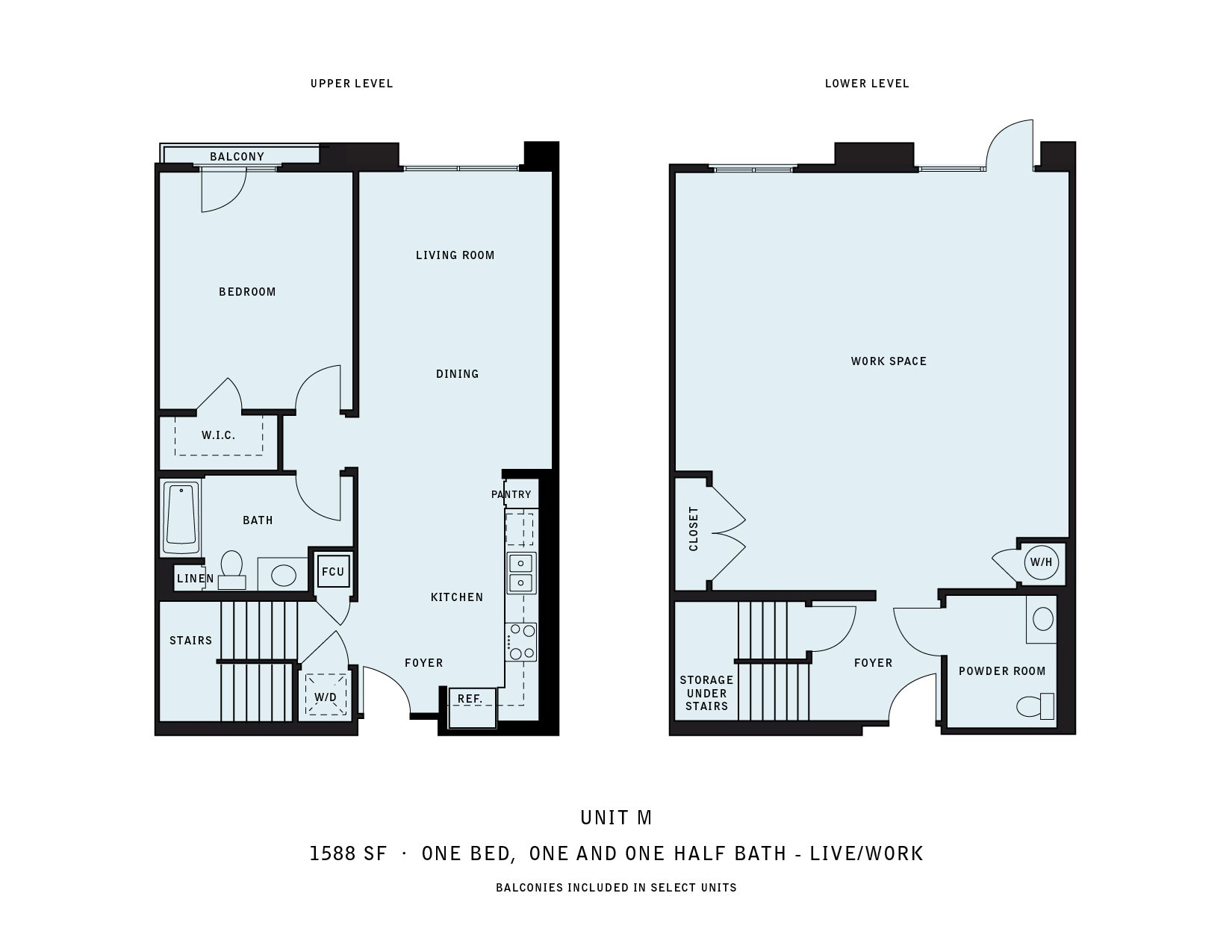 The Reserve at Seabridge_Oxnard CA_Floor Plan M_One Bedroom One and a Half Bathroom