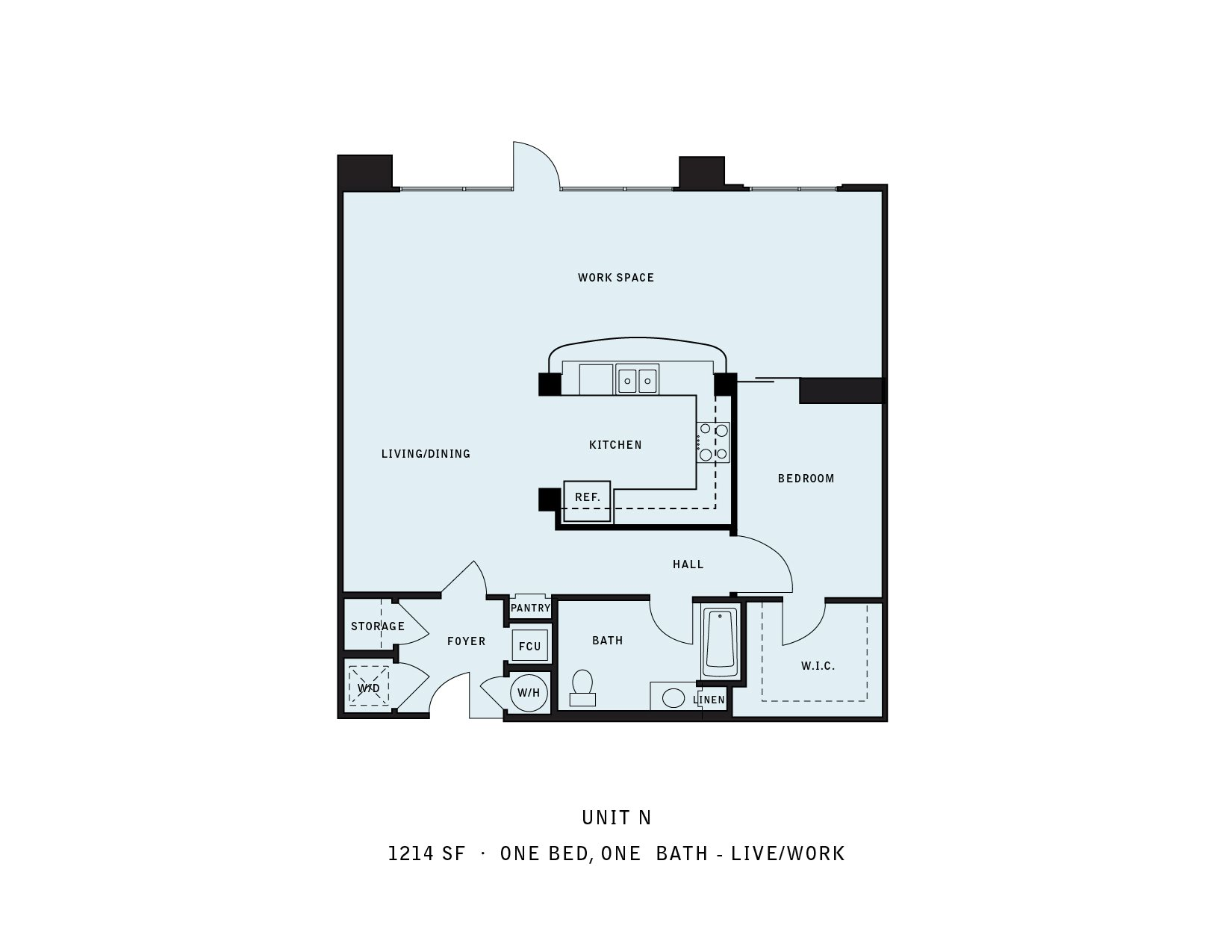 The Reserve at Seabridge_Oxnard CA_Floor Plan N_One Bedroom One Bathroom