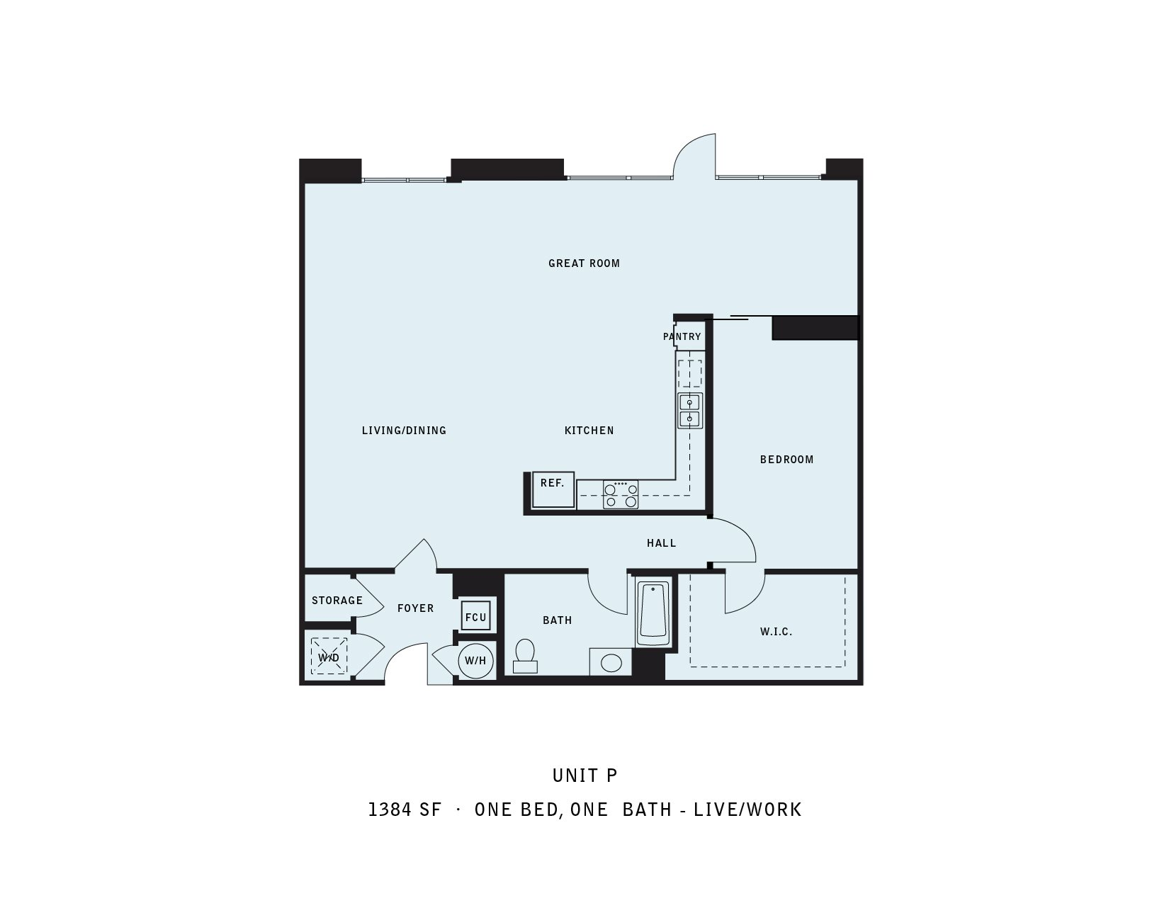 The Reserve at Seabridge_Oxnard CA_Floor Plan P_One Bedroom One Bathroom