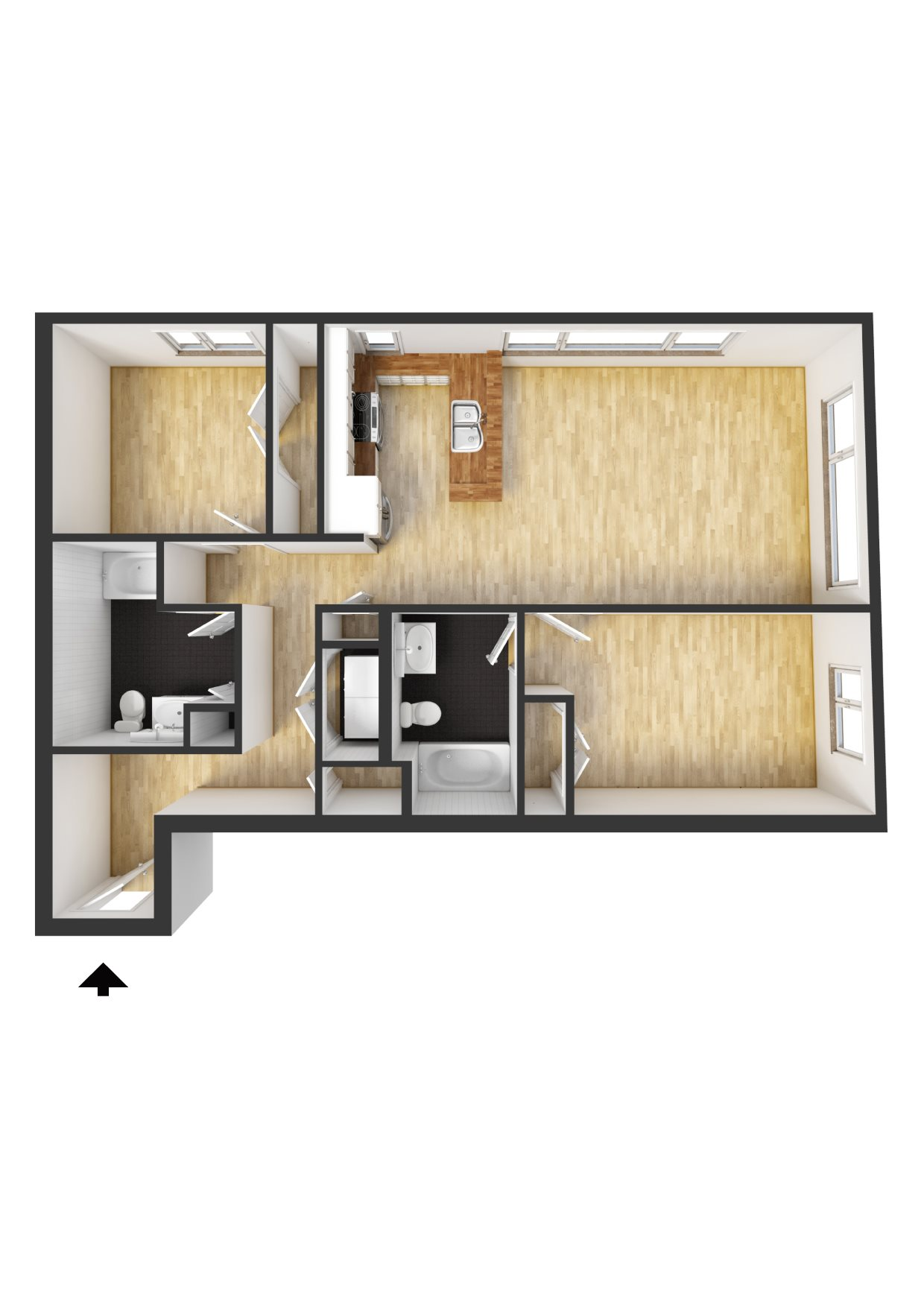 2 Bedroom, 2 Bath B