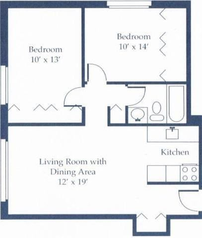 Large 2 Bedroom Floor Plans Apartments at The Shores of Roosevelt Park in Muskegon MI