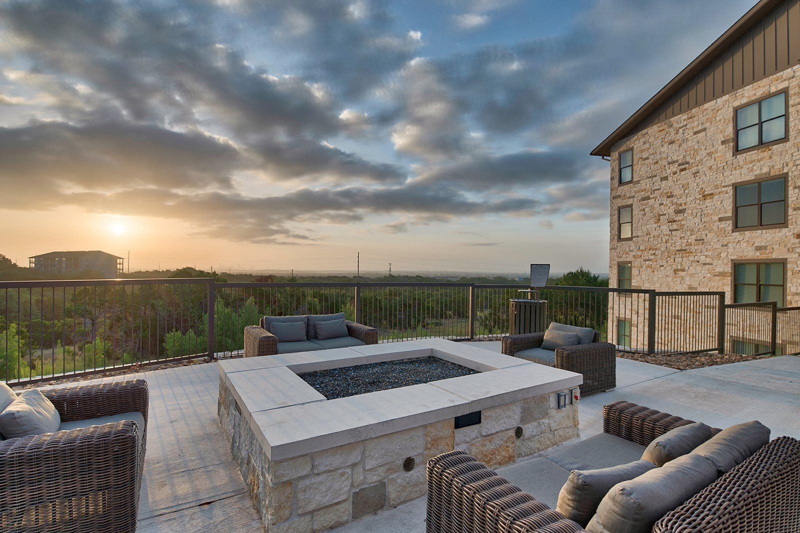 Relaxing Outdoor Lounge Area with Fire Pit at Windsor Lantana Hills, 6601 Rialto Blvd, Austin