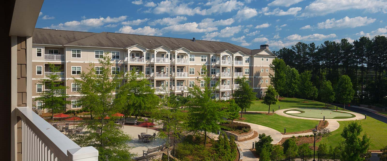 Exterior Banner Lodge at BridgeMill Luxury Senior Living Community Canton Georgia