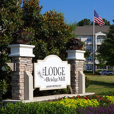 Exterior Sign Lodge at BridgeMill Luxury Senior Living Community Canton Georgia