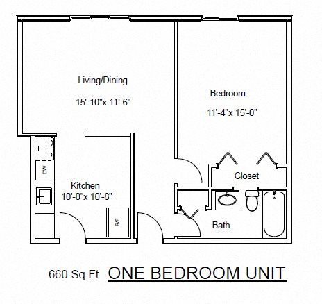 One Bedroom, One Bathroom Floor Plan 2
