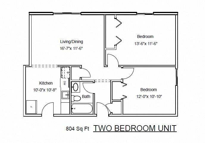 Two Bedrooms, One Bathroom Floor Plan 3