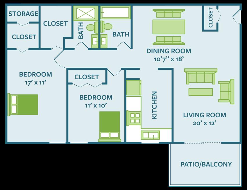 2 bedroom 2 bath apartment floor plan