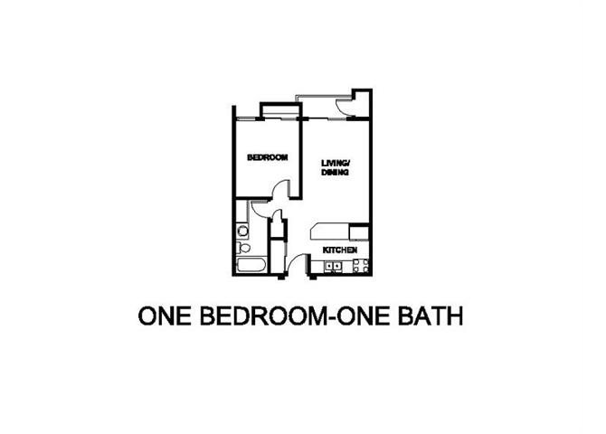 One Bedroom One Bath Floor plan at Renaissance Terrace, Long Beach, CA, 90813
