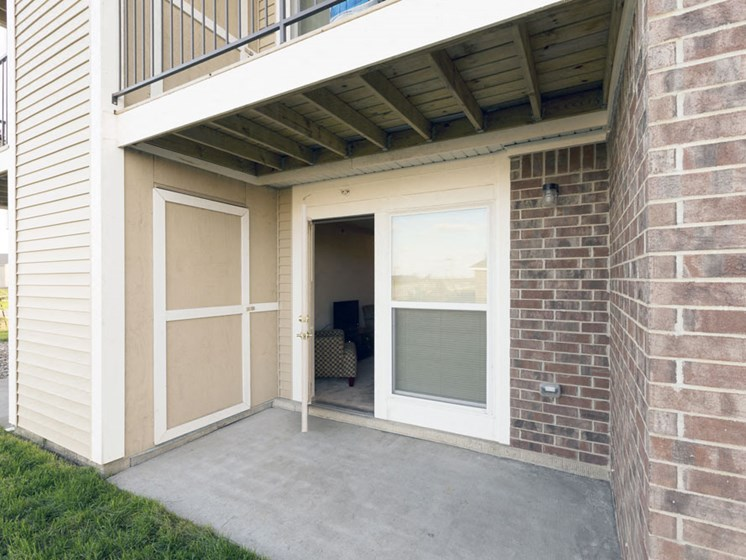 Apartment Patio with Enclosed Storage at Lynbrook Apartment Homes and Townhomes, Nebraska
