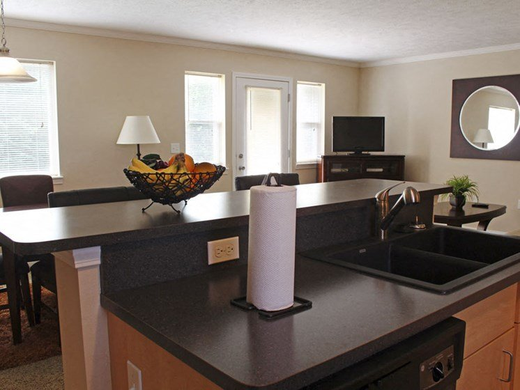 Kitchens With Black Countertops at Lynbrook Apartment Homes and Townhomes, Elkhorn, 68022