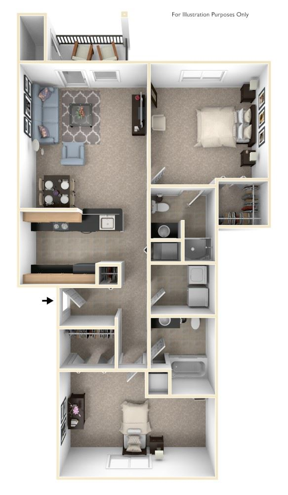 Traditional Two Bedroom Floor Plan at Lynbrook Apartment Homes and Townhomes, Elkhorn, NE