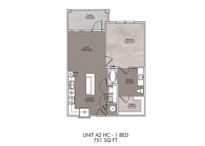 A2.HC- One Bedroom/One Bath- 751 sf Floor Plan 3