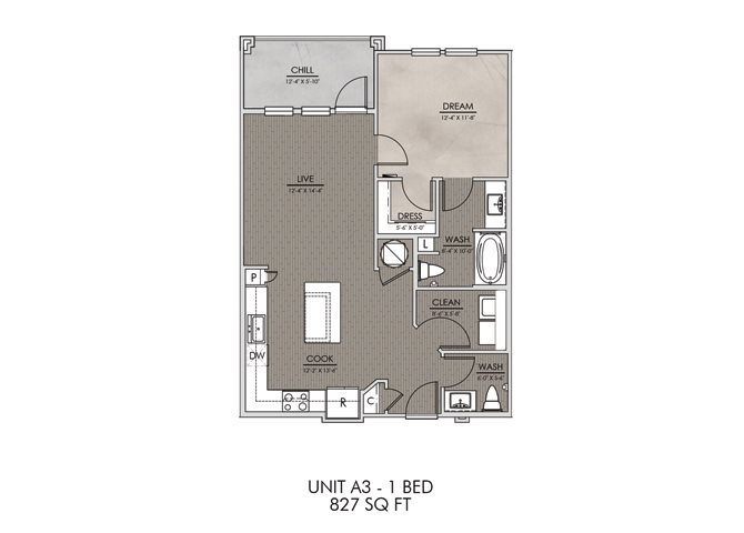 A3- One Bedroom/One and a Half Bath- 827 sf Floor Plan 4