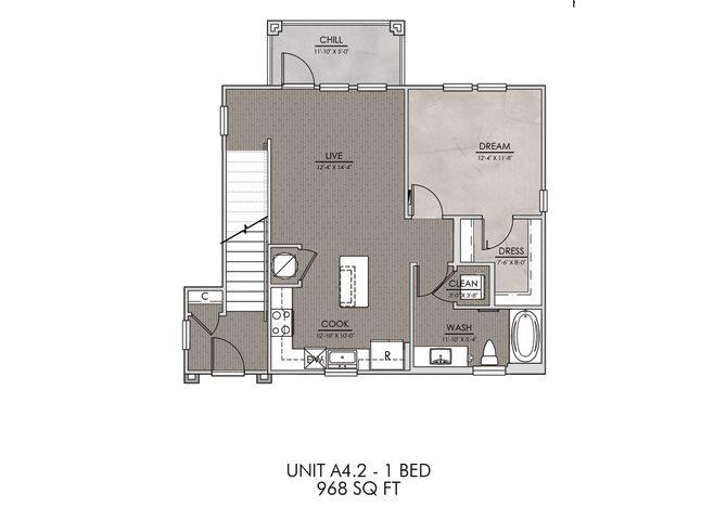 A4.2- One Bedroom/One Bath- 828sf Floor Plan 6