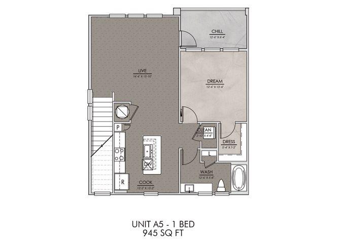 A5- One Bedroom/One Bath- 945 sf Floor Plan 7