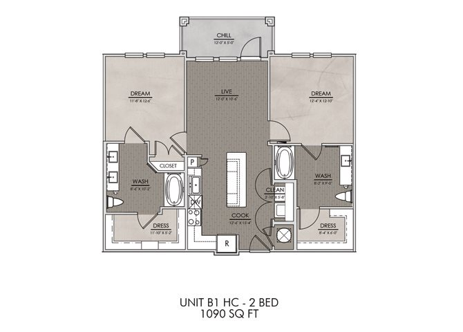 B1.HC- Two Bedroom/Two Bath- 1090 sf Floor Plan 9