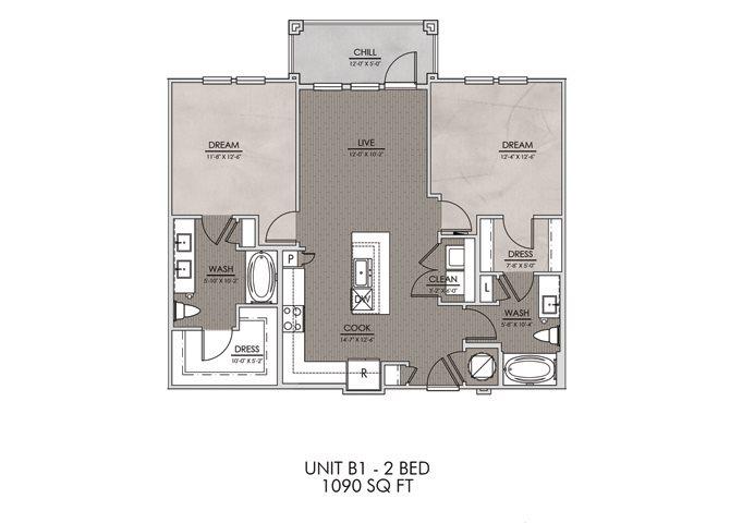 B1- Two Bedroom/Two Bath- 1090 sf Floor Plan 8
