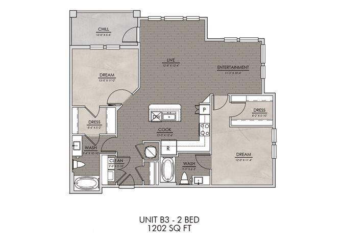 B3- Two Bedroom/Two Bath- 1202 sf Floor Plan 10