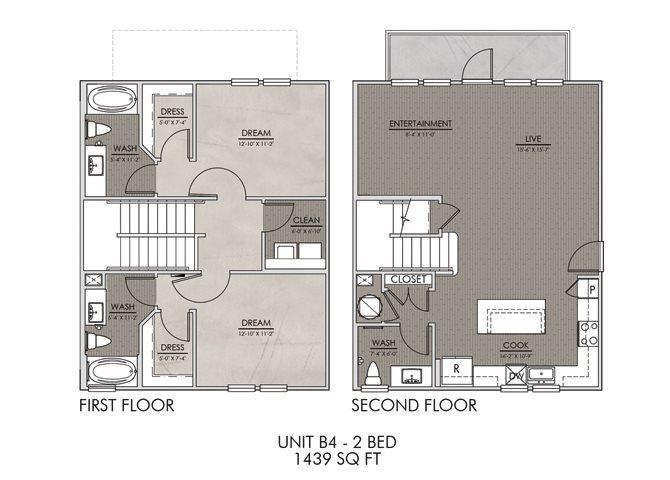 B4- Two Bedroom/Two Bath- 1439 sf Floor Plan 11