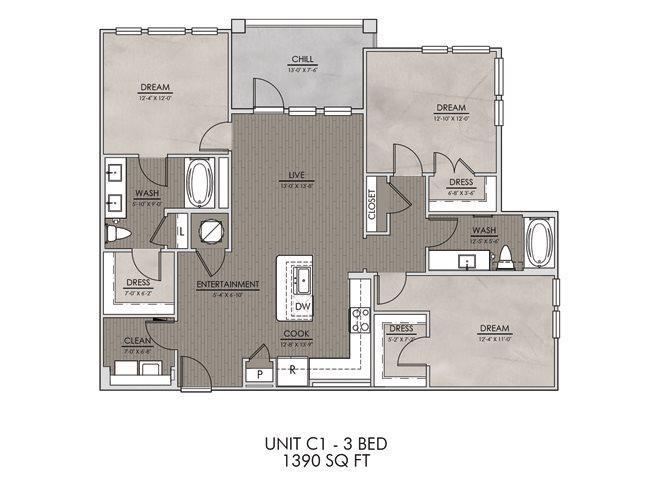 C1- Three Bedroom/Two Bath- 1390 sf Floor Plan 12