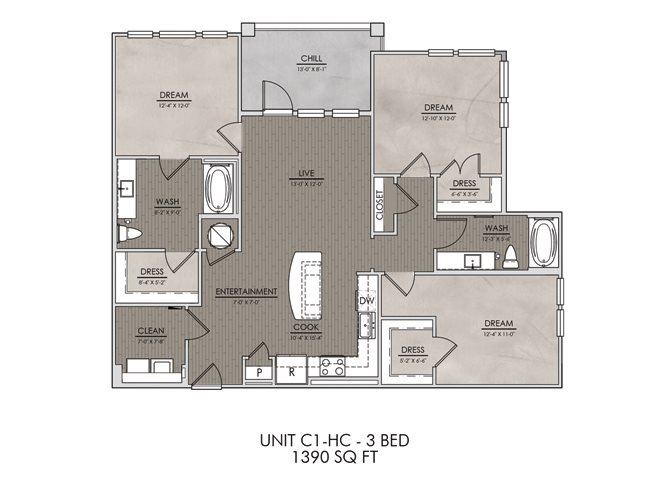 C1.HC- Three Bedroom/Two Bath- 1390 sf Floor Plan 13